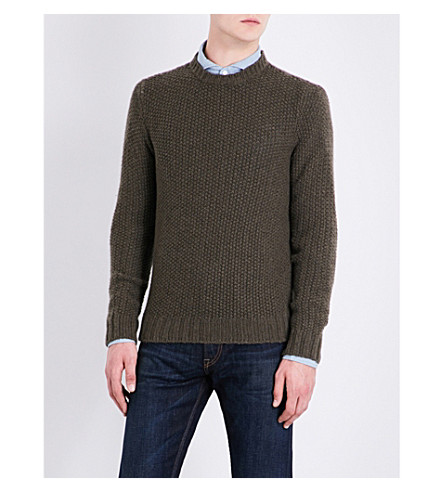 RALPH LAUREN PURPLE LABEL Knitted cashmere jumper (Khaki