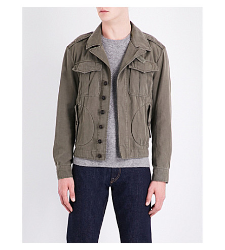 RALPH LAUREN PURPLE LABEL Buckle-fastened cotton and linen-blend jacket (Khaki