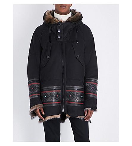 RALPH LAUREN PURPLE LABEL Embroidered-detail suede coat (Navy