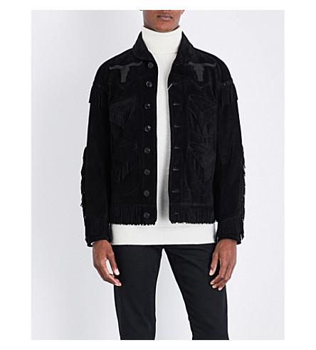 RALPH LAUREN PURPLE LABEL Fringed suede jacket (Black