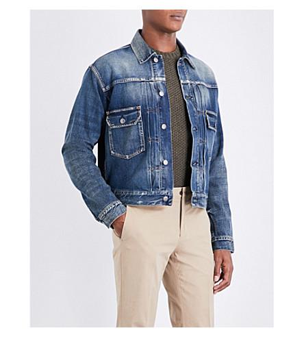 RALPH LAUREN PURPLE LABEL Washed denim trucker jacket (Mid+blue