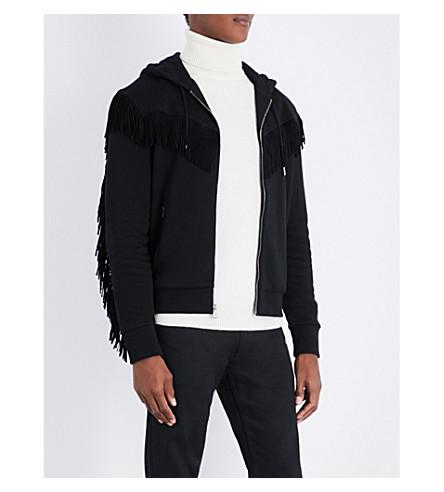 RALPH LAUREN PURPLE LABEL Suede-fringed cotton-blend hoody (Black