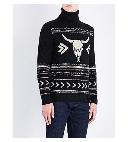 RALPH LAUREN PURPLE LABEL Bull skull-motif cashmere and wool-blend jumper (Black