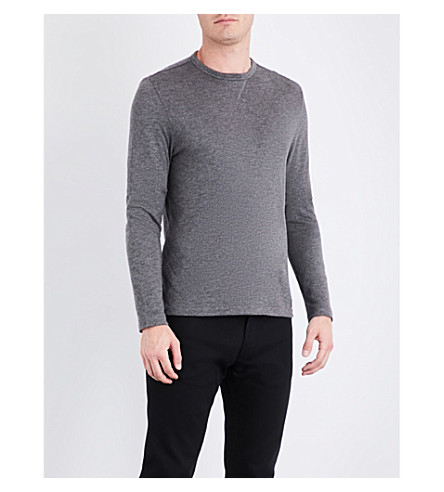 RALPH LAUREN PURPLE LABEL Marl knitted sweatshirt (Grey