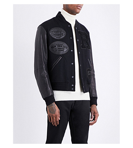 RALPH LAUREN PURPLE LABEL New York leather and wool-blend varsity jacket (Black