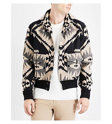 RALPH LAUREN PURPLE LABEL Geometric-pattern wool and cashmere-blend jacket (Mono