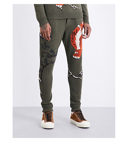 RALPH LAUREN PURPLE LABEL Tiger-intarsia wool and cashmere blend jogging bottoms (Khaki