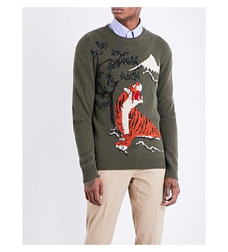 RALPH LAUREN PURPLE LABEL Tiger-intarsia cashmere and wool blend jumper (Khaki