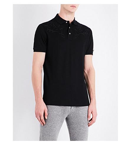 RALPH LAUREN PURPLE LABEL Rodeo cotton-piqué polo shirt (Black