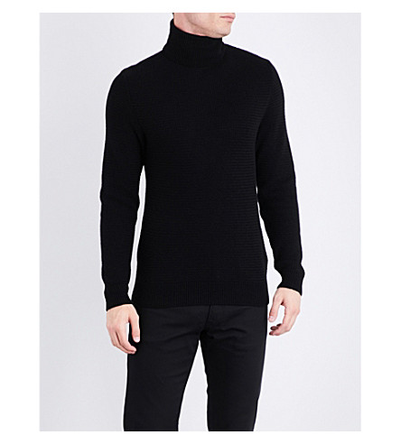 RALPH LAUREN PURPLE LABEL Turtleneck knitted cashmere jumper (Black