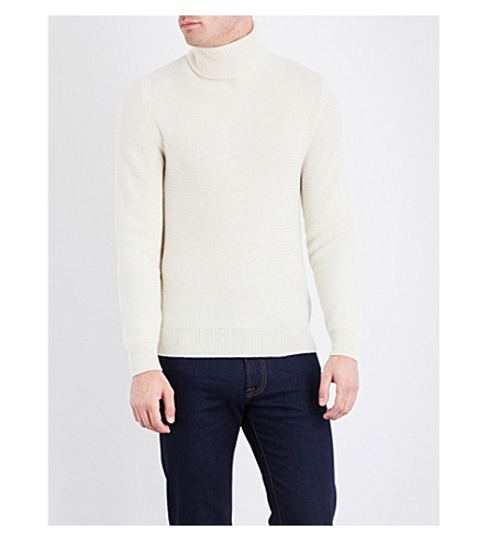 RALPH LAUREN PURPLE LABEL Turtleneck knitted cashmere jumper (Ecru
