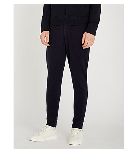 RALPH LAUREN PURPLE LABEL Suede trims wool and cashmere-blend jogging bottoms (Classic+chairman+navy