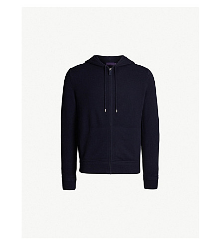 POLO RALPH LAUREN Suede zip wool and cashmere-blend hoody (Classic+chairman+navy