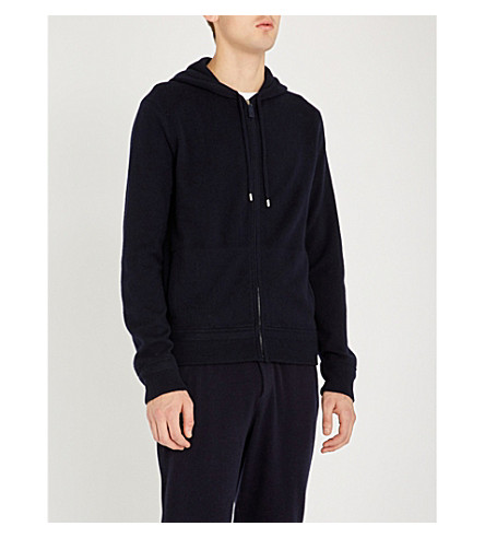 RALPH LAUREN PURPLE LABEL Suede zip wool and cashmere-blend hoody (Classic+chairman+navy