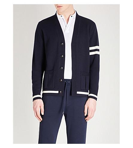 RALPH LAUREN PURPLE LABEL Striped-trim wool cardigan (Navy+cream