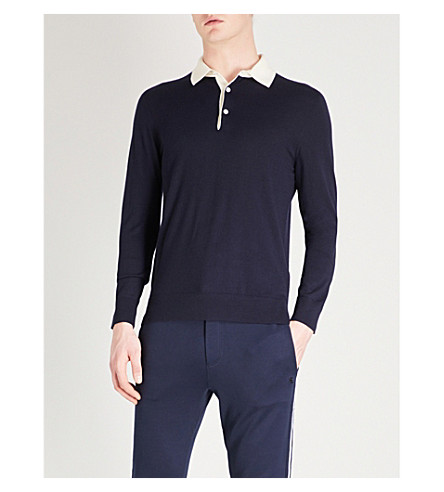 RALPH LAUREN PURPLE LABEL Contrast-collar wool polo shirt (Navy+cream