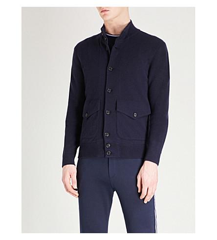 RALPH LAUREN PURPLE LABEL Funnel-neck wool and cashmere-blend jacket (Navy