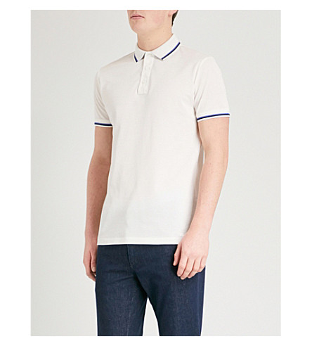 RALPH LAUREN PURPLE LABEL Tipped cotton-blend polo shirt (White