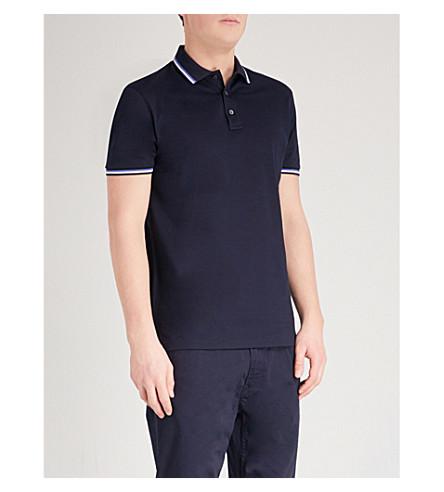 RALPH LAUREN PURPLE LABEL Tipped cotton-pique polo shirt (Navy