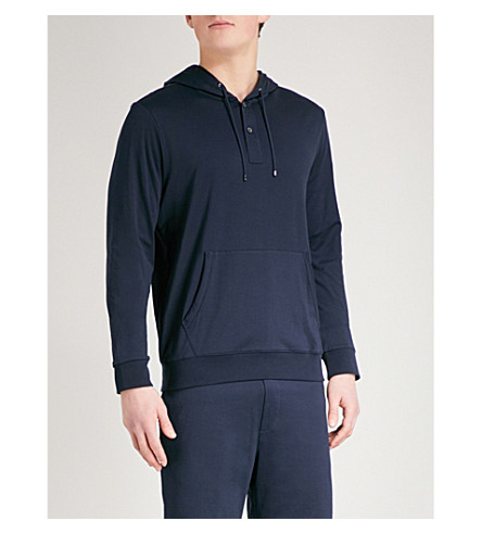 RALPH LAUREN PURPLE LABEL Lisle cotton-jersey hoody (Navy+grey