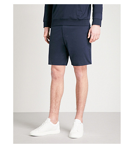 RALPH LAUREN PURPLE LABEL Lisle cotton-jersey shorts (Navy+grey