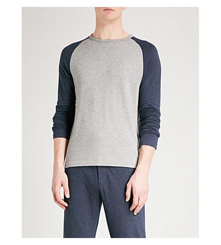 RALPH LAUREN PURPLE LABEL Contrast-sleeves jersey top (Navy+grey
