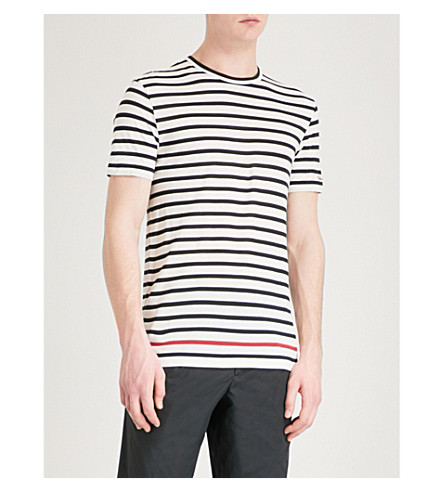 RALPH LAUREN PURPLE LABEL Breton striped cotton-jersey T-shirt (White+black