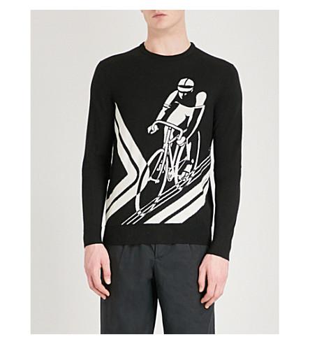 RALPH LAUREN PURPLE LABEL Cyclist intarsia cashmere jumper (Black