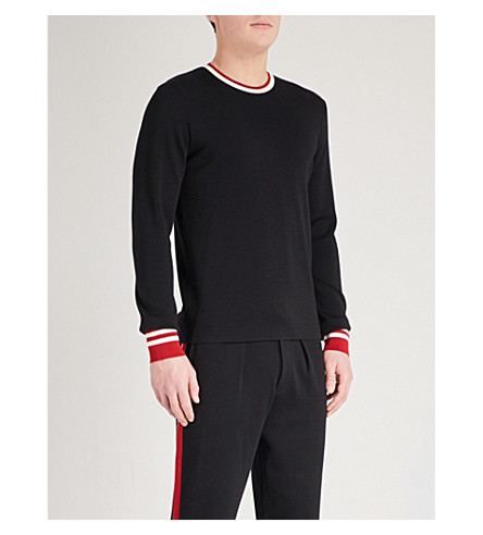 RALPH LAUREN PURPLE LABEL Striped trims wool jumper (Black