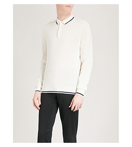 RALPH LAUREN PURPLE LABEL Stripe-trimmed long-sleeved cotton-knitted polo shirt (Ivory
