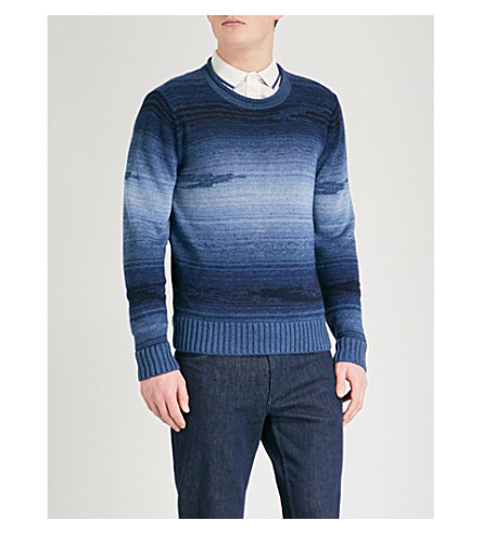 RALPH LAUREN PURPLE LABEL Gradient linen-blend jumper (Blue