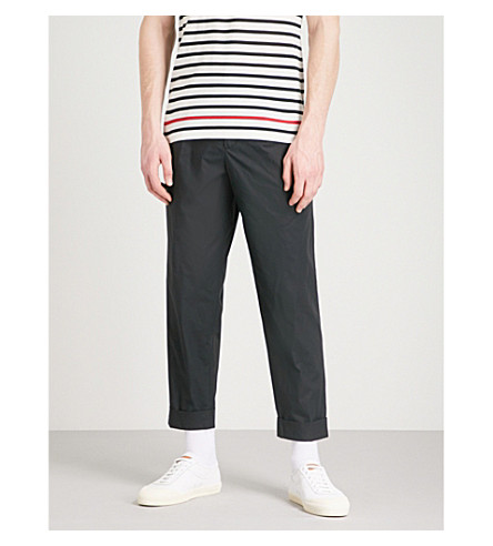 RALPH LAUREN PURPLE LABEL Modern Pleat straight stretch-cotton trousers (Black