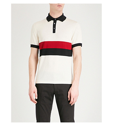 RALPH LAUREN PURPLE LABEL Striped wool polo shirt (White