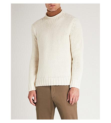 RALPH LAUREN PURPLE LABEL Knitted cashmere jumper Cream multi Free Shipping Factory Outlet Shop Sale Online e3x7dK68