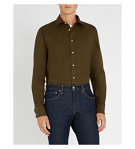 RALPH LAUREN PURPLE LABEL 修身版型棉质衬衫 (橄榄