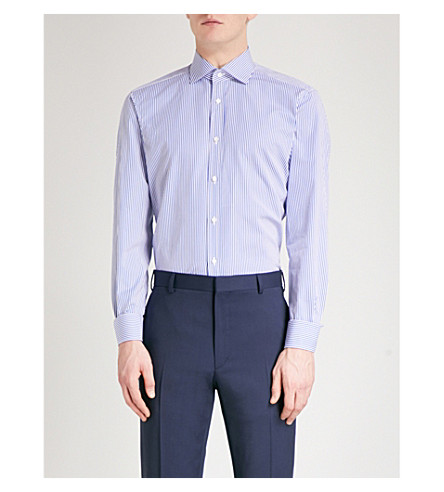 RALPH LAUREN PURPLE LABEL Aston striped regular-fit cotton-blend shirt (Blue+white