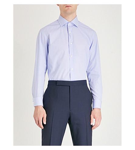 RALPH LAUREN PURPLE LABEL Ginham tailored-fit cotton shirt (Sky+blue