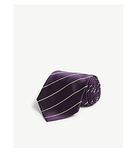 RALPH LAUREN PURPLE LABEL Diagonal-stripe satin silk tie (Dark+purple