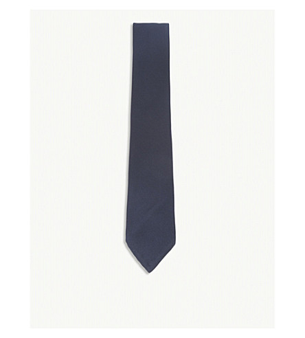 RALPH LAUREN PURPLE LABEL Textured silk tie (Dark navy