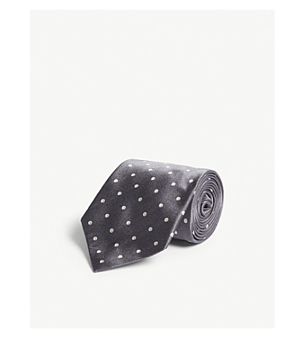 POLO RALPH LAUREN Polka-dot satin silk tie (Dark+grey