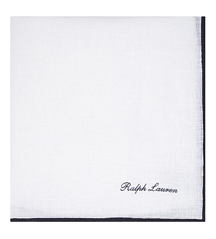 RALPH LAUREN PURPLE LABEL Linen pocket square (White+with+navy+tpng