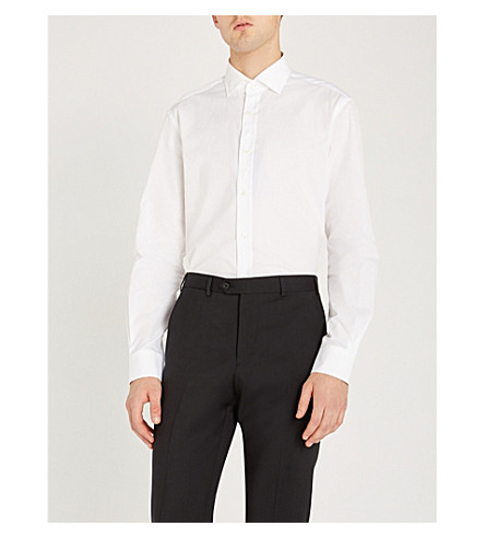 RALPH LAUREN PURPLE LABEL Slim-fit cotton-poplin shirt (White