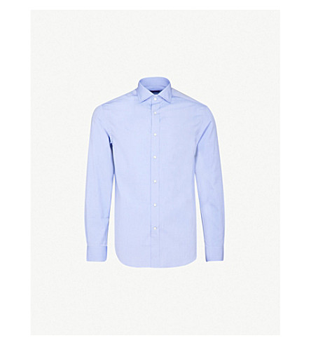 RALPH LAUREN PURPLE LABEL Regular-fit cotton shirt (Light+blue