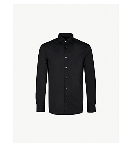 RALPH LAUREN PURPLE LABEL Regular-fit cotton-blend shirt (Black