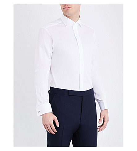 RALPH LAUREN PURPLE LABEL Gingham tailored-fit cotton shirt (White