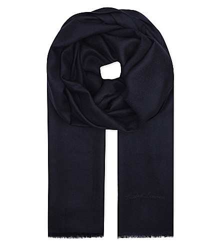 RALPH LAUREN PURPLE LABEL Cashmere scarf (Navy