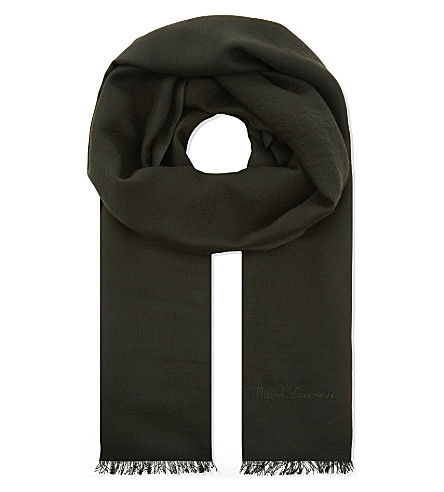 RALPH LAUREN PURPLE LABEL Cashmere scarf (Olive