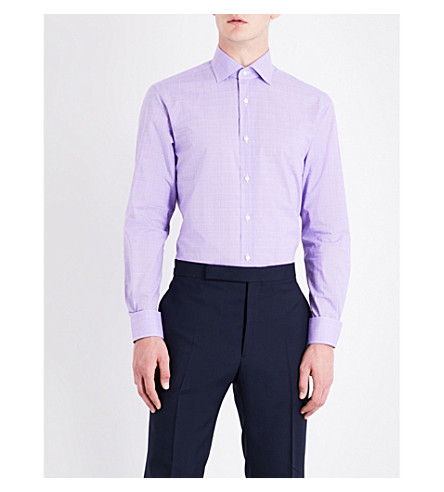 RALPH LAUREN PURPLE LABEL Aston checked regular-fit cotton shirt (Purple+and+white