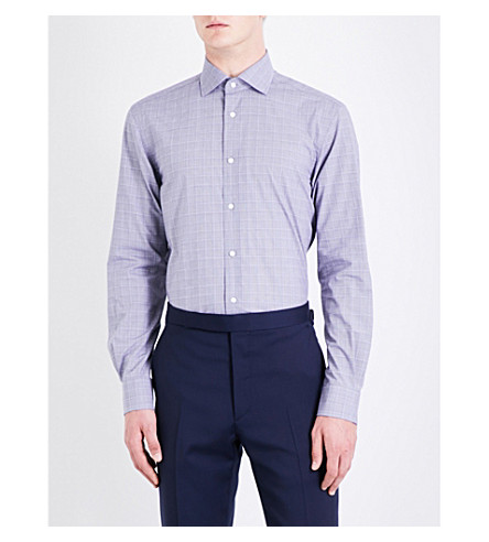 RALPH LAUREN PURPLE LABEL Aston Prince of Wales check regular-fit cotton shirt (Navy+and+white
