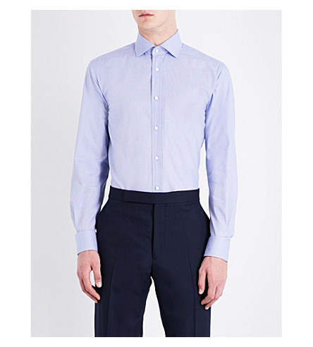 RALPH LAUREN PURPLE LABEL Aston regular-fit geometric pattern cotton shirt (Multi+blue